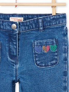 Jeans blu con motivi cuori bambina MAMIXJEAN / 21W901J1JEAP269