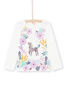 T-shirt bianco e rosa bambina MAPLATEE2 / 21W901O1TML001