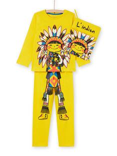 Completo pigiama t-shirt e leggings giallo fosforescente bambino LEGOPYJMAN4 / 21SH12S4PYGB105