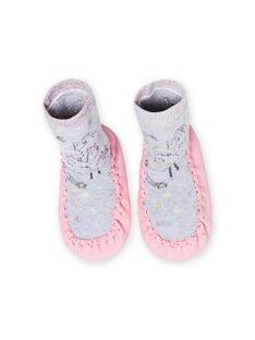 Pantofole alte grigio melange motivo lama neonata MICHO7LAMA / 21XK3721D08943