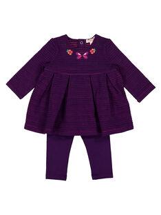 Completo abito e leggings viola neonata GIVIOENS / 19WG09R1ENS708