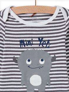 Body maniche lunghe a righe con motivo yeti neonato MEGABODYET / 21WH14C4BDLJ918
