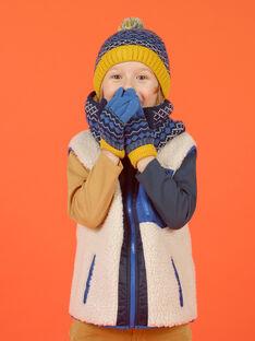 Berretto con pompon blu e motivo jacquard bambina MYOGROBON6 / 21WI0268BON221