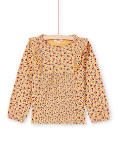 Blusa maniche lunghe senape con stampa fiori bambina MAMIXTEE1 / 21W901J3TMLB106
