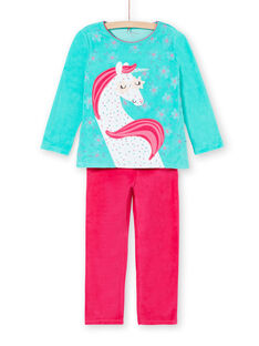 Pigiama bambina turchese motivo unicorno LEFAPYJLIC / 21SH1153PYJ209