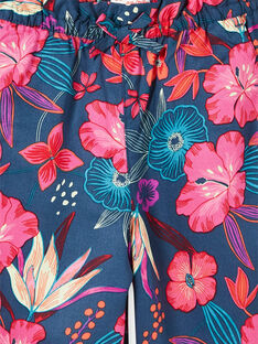 Pantaloni taglio morbido navy e rosa con stampa a fiori LABONPANT / 21S901W1PAN716