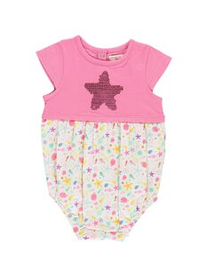 Baby girls' romper in two fabrics CIMABAR2 / 18SG09U2BAR313