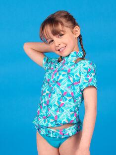 T-shirt anti-UV turchese bambina LYAMERLUV / 21SI01D1TUVG621