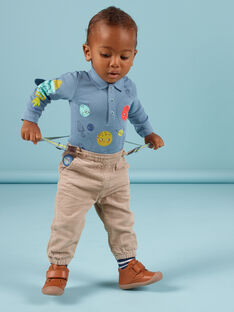 Pantaloni a quadri e bretelle a righe neonato MUPLAPAN2 / 21WG10O2PAN817