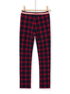 Pantalon milano blu notte e rossi con stampa tartan bambina MAMIXPANT / 21W901J1PANC205