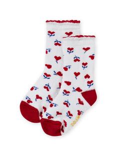 Calze ecrù e rosse con stampa cuore neonata MYIMIXSOQB / 21WI09J1SOQ001