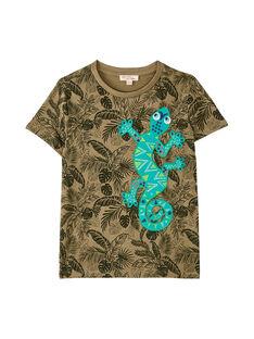 T-shirt bambino maniche corte kaki con stampa tropicale JOSAUTI2 / 20S902Q5TMC628