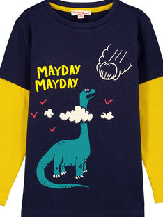 T-shirt Maniche Lunghe Doppie Navy e Gialla GOJAUTEE1 / 19W902H3TMLJ900