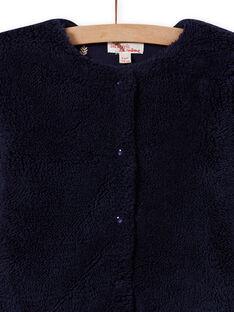 Cardigan double face blu notte in finta pelliccia bambina MAJOCARF1 / 21W90114CARC205