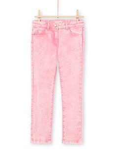 Jeans rosa effetto acide wash bambina MAKAJEAN / 21W901I1JEAD305