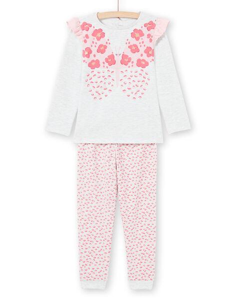 Set pigiama t-shirt e pantaloni ecrù melange e rosa bambina MEFAPYJFLY / 21WH1135PYJ006
