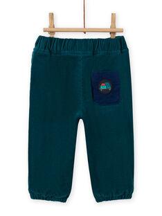 Pantaloni petrolio in velluto a costine neonato MUJOPAN1 / 21WG1011PAN714