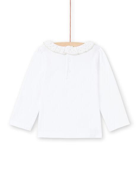 T-shirt a maniche lunghe bianca con colletto neonata MIJOBRA1 / 21WG0911BRA000