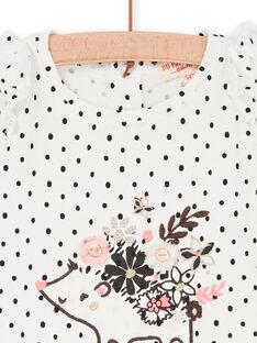 T-shirt bianca e navy a pois neonata LIPOETEE1 / 21SG09Y2TML001