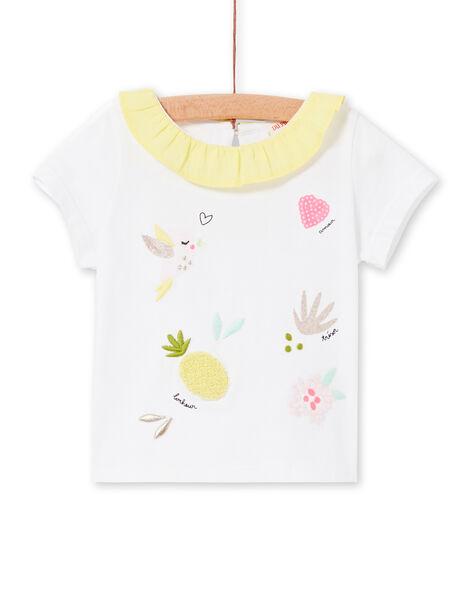 T-shirt bianca e gialla neonata LIBALBRA / 21SG09O1BRA000