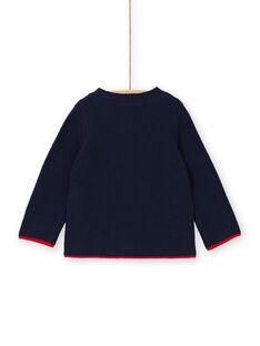 Cardigan blu notte in maglia sottile neonato LUHAGIL / 21SG10X1GIL713
