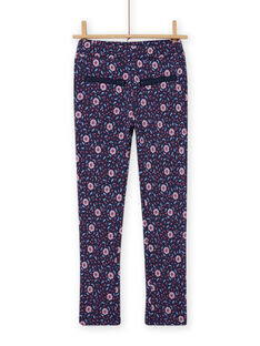 Pantaloni blu con stampa a fiori bambina MAPLAPANT1 / 21W901O1PANC202