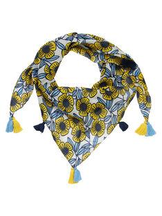 Foulard in cotone con fiori blu e gialli bambina JYATROFOUL / 20SI01F1FOU001