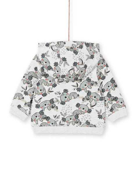 Felpa con cappuccio grigia ed ecrù con stampa koala neonato LUPOEGIL / 21SG10Y1GILA011