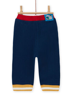 Pantaloni blu notte con dettagli a contrasto neonato MUMIXPAN1 / 21WG10J2PAN713