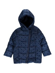 Girls' navy blue hooded padded jacket DALONDOU3 / 18W901E3D3E070