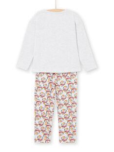 Pigiama T-shirt e pantaloni grigio melange e giallo bambina LEFAPYJOWL / 21SH1152PYJJ920
