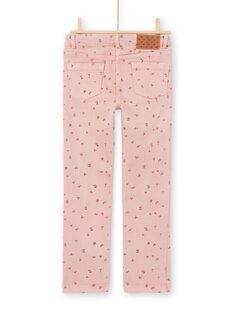 Pantaloni rosa stampa a fiori bambina MAJOPANT2 / 21W90122PAN312