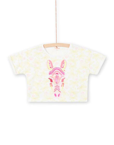 T-shirt bianca a maniche corte, stampa a fiori e testa di zebbra ricamata bambina LABONTI3 / 21S901W2TMC000
