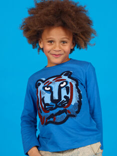 T-shirt blu in cotone bambino LOBLETEE2 / 21S902J3TML702