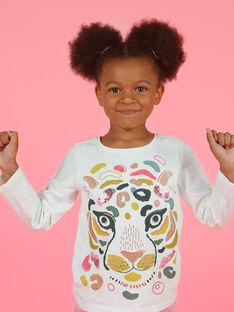 T-shirt ecrù e giallo bambina MAKATEE3 / 21W901I2TML001