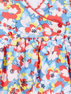 Abito blu e rosso con stampa a fiori neonata LICANROB2 / 21SG09M4ROB706