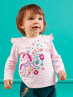 T-shirt a maniche lunghe lilla a righe con motivo unicorno neonata MITUTEE1 / 21WG09K1TMLH700