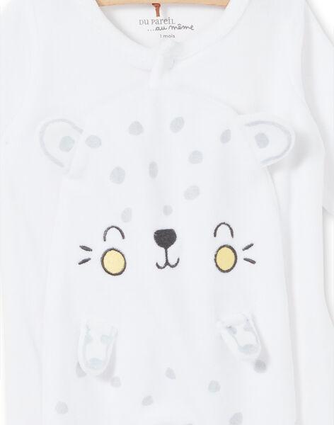 Tutina leopardata bianca in velluto neonato unisex LOU1GRE5 / 21SF05H2GRE000