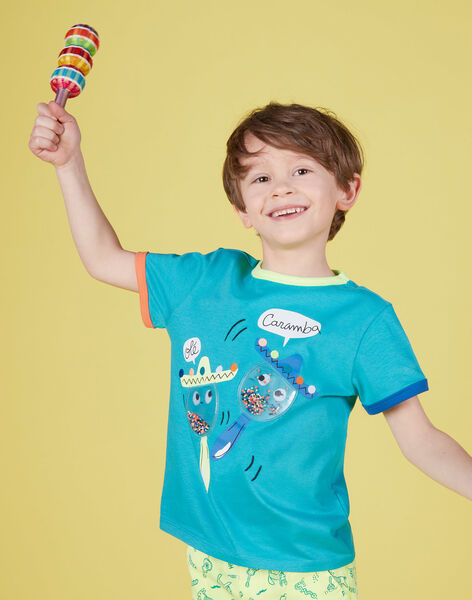 T-shirt bambino maniche corte turchese maracas JOMARTI1 / 20S902P3TMCC242