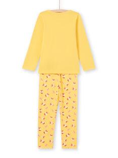 Set pigiama t-shirt e pantaloni giallo e arancione bambina MEFAPYJFOX / 21WH1174PYG010