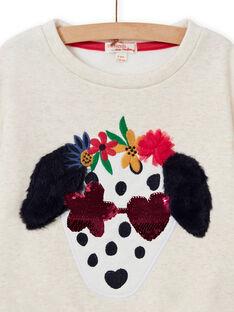 Felpa stile t-shirt ecrù motivo cane fantasia bambina MAMIXSWEA / 21W901J1SWE006