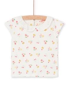 T-shirt ecrù e rosa stampa a fiori neonata LIVERBRA / 21SG09Q1BRA001