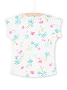 T-shirt bianco e blu con stampa palme e fiori bambina LAJOTI7 / 21S901F1D31001