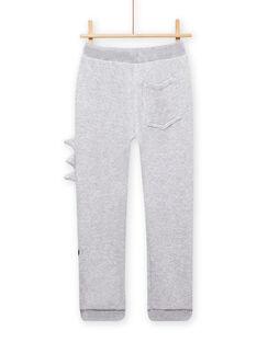 Pantaloni sportivi grigio melange con motivo drago bambino MOPLAJOG / 21W902O1JGBJ922