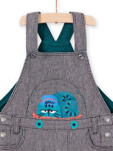 Salopette a righe blu inchiostro motivo gatto neonato MUTUSAL1 / 21WG10K2SALC234