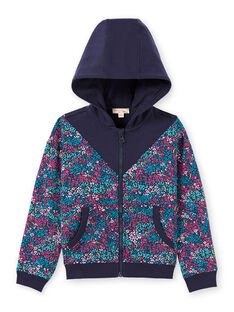 Giacca sportiva con cappuccio e stampa a fiori blu notte bambina MAJOHAUJOG4 / 21W90114JGHC205