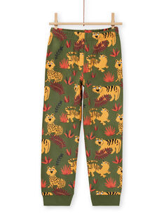 Set pigiama fosforescente kaki con motivi tigri bambino MEGOPYJMAN3 / 21WH1273PYGG618