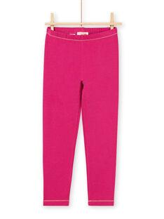 Leggings rosa scuro dettagli dorati bambina MYAJOLEG3 / 21WI0111CALD312