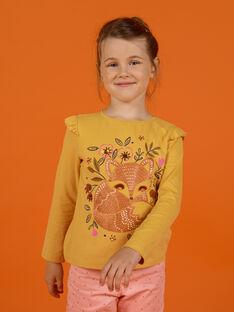 T-shirt a maniche lunghe gialla con motivo volpe bambina MASAUTEE2 / 21W901P1TMLB107