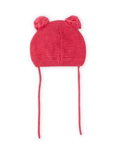 Berretto rosa vintage motivo gatto e pompon neonata MYIFUNBON / 21WI0966BOND332